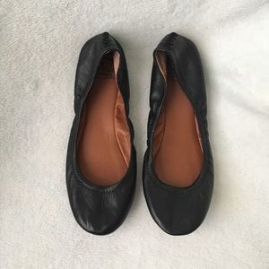 Lucky Brand Emmie Flats Black Leather  Shoes 8